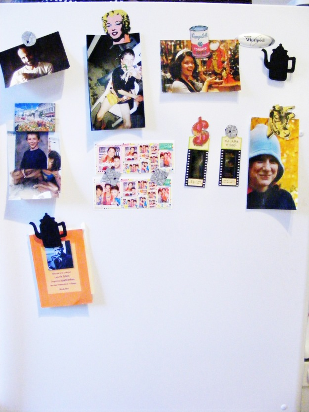 magnets and refrigerator photos