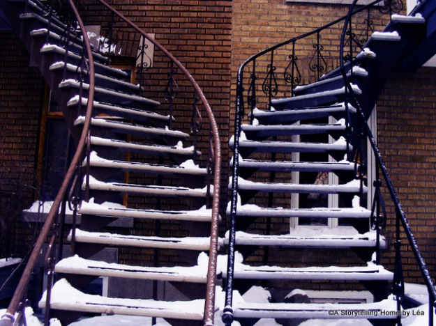 Outdoor staircases in the winter, Montreal