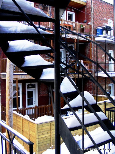 Snowy outdoor stairs, Montreal