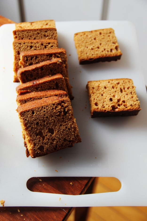 Spice cake sliced