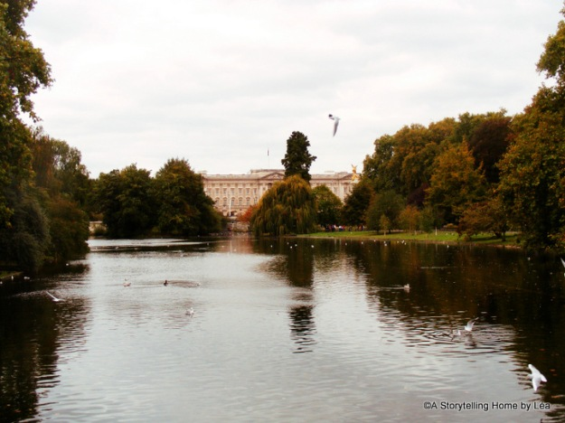 Buckingham palace, as seen across a pond in St-James Park, London, England