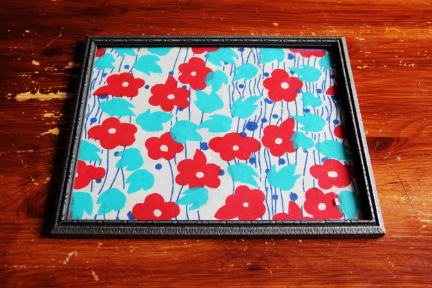 Framed Scrapbooking paper art flowers