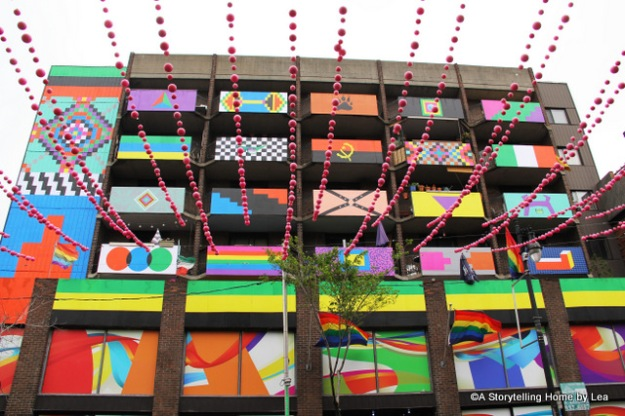 Colorful building Montreal Gay village