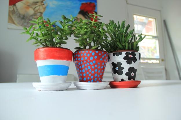 Painted clay plant pots_Marimekko inspiration