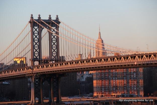 Brooklyn bridge New York city skyline empire state building