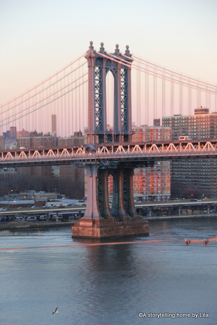 New york city bridge sunset