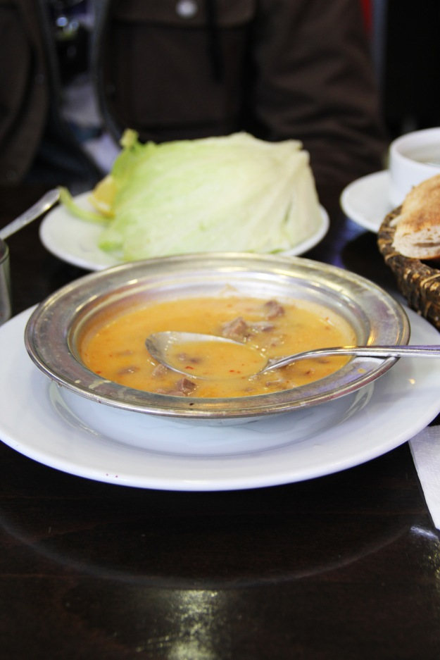 Tripe soup with tons of garlic