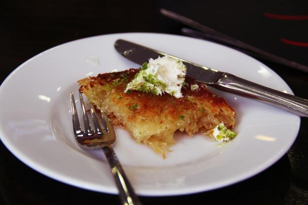 Tel kadayif with Kaymak (shredded wheat, honey, pistachio, clotted cream)